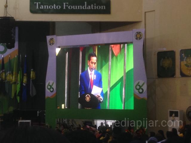 Orasi Presiden RI dalam rangka Dies Natalis ke-66 Universitas Sumatera Utara (USU) di Auditorium USU pada Senin (8/10). (Fotogtafer: Diva Vania)