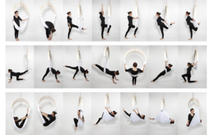 Beberapa gerakan yang dilakukan dalam Yoga Anti Gravitasi. (Sumber Foto: https://www.getyourfit.com/blogs/learn/99072641-aerial-yoga-your-cirque-du-soleil-workout)