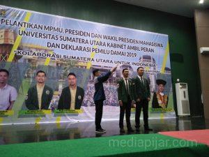 Pengambilan sumpah presiden dan wakil presiden PEMA USU Periode 2019/2020 di Auditorium USU. (12/2) (Fotografer: Eprince Tamba)