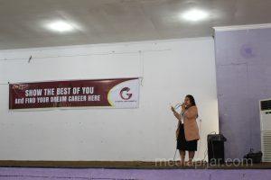 Penyampaian materi dalam acara Job Festival. (12/3)  (Fotografer: Citra Relitna)