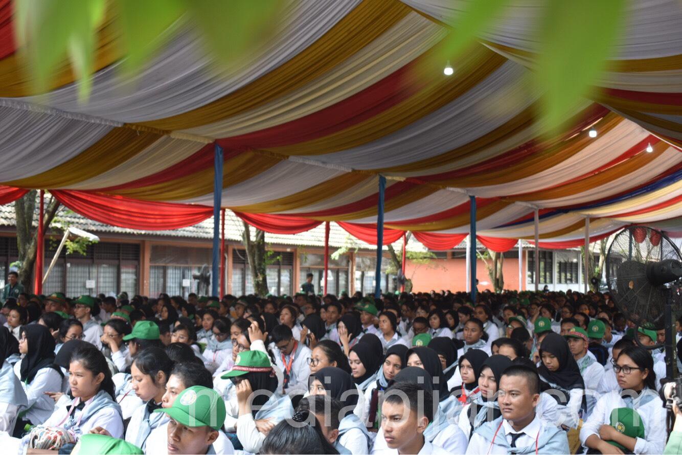 Suasana Pembukaan Pengenalan Kegiatan Kampus bagi Mahasiswa Baru Fakultas Ekonomi Bisnis USU (19/08) Fotografer: Azka Fikri