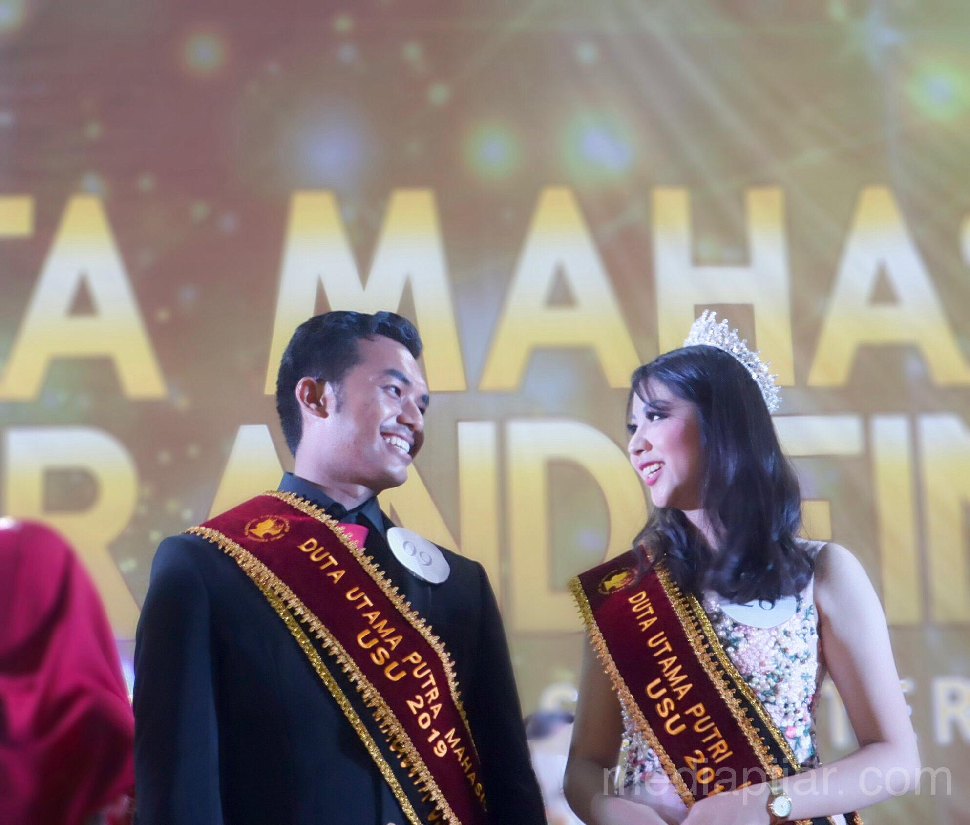 M.Fadhli dan Ridya Wijaya yang merupakan Duta Utama Mahasiswa USU 2019 (23/11). (Fotografer: Hazlina Ganif Sihotang)