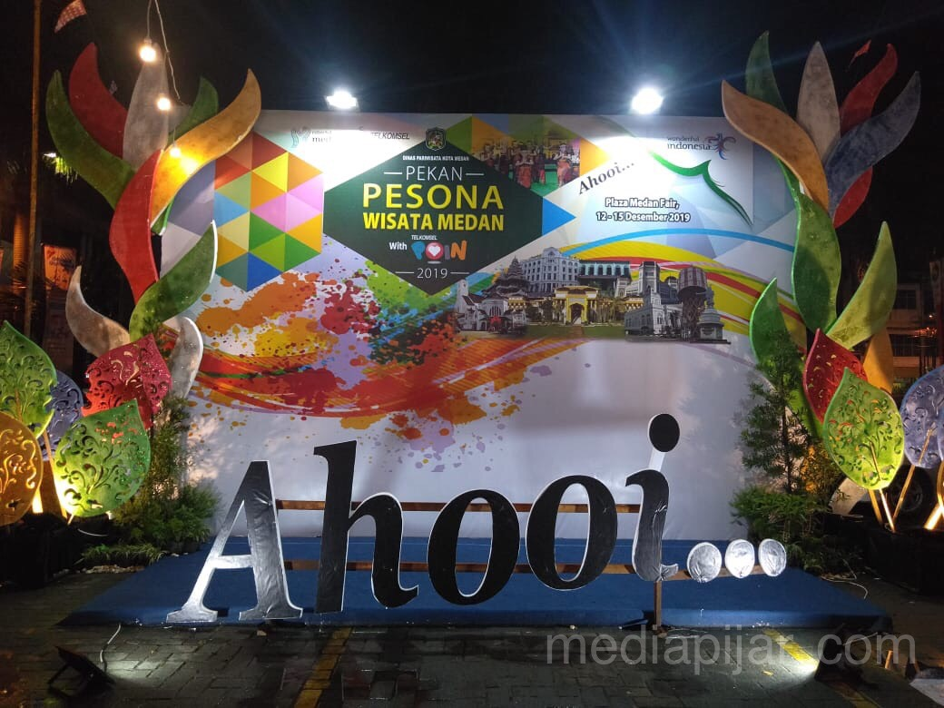 Photo Booth yang disediakan untuk pengunjung pada acara Pekan Pesona Wisata Medan di Pelataran Parkir Plaza Medan Fair (14/12) Fotografer: Asti Febrina