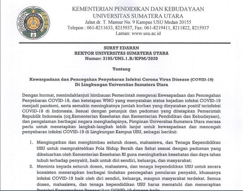 Surat edaran yang dikirimkan oleh pihak rektor. (Sumber: Humas USU)