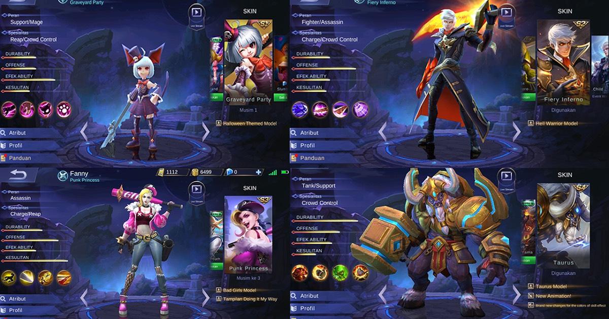 Beberapa hero di Mobile Legends yang dapat kita gunakan untuk bermain. (Sumber Foto: https://www.bing.com)