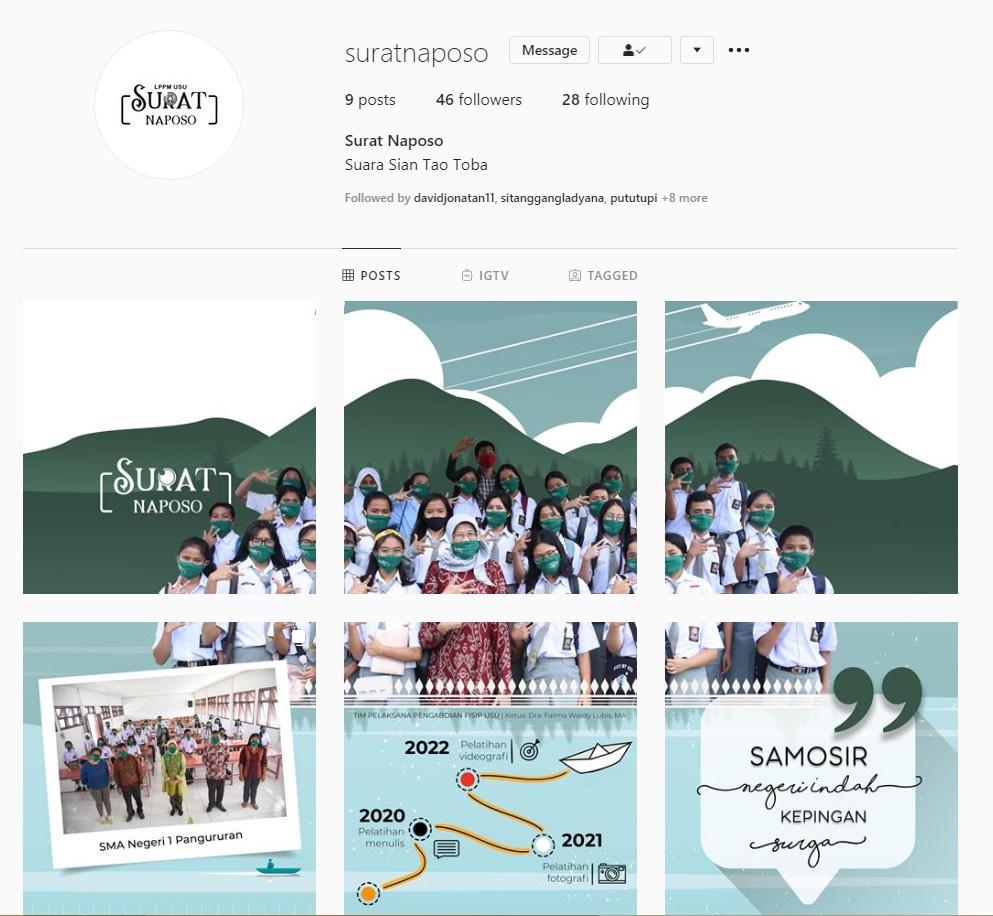 Akun Media Sosial Surat Naposo sebagai platform media publikasi hasil tulisan para pelajar SMAN 1 Pangururan yang tergabung dalam Komunitas Surat Naposo. (Sumber Foto: instagram.com/suratnaposo )