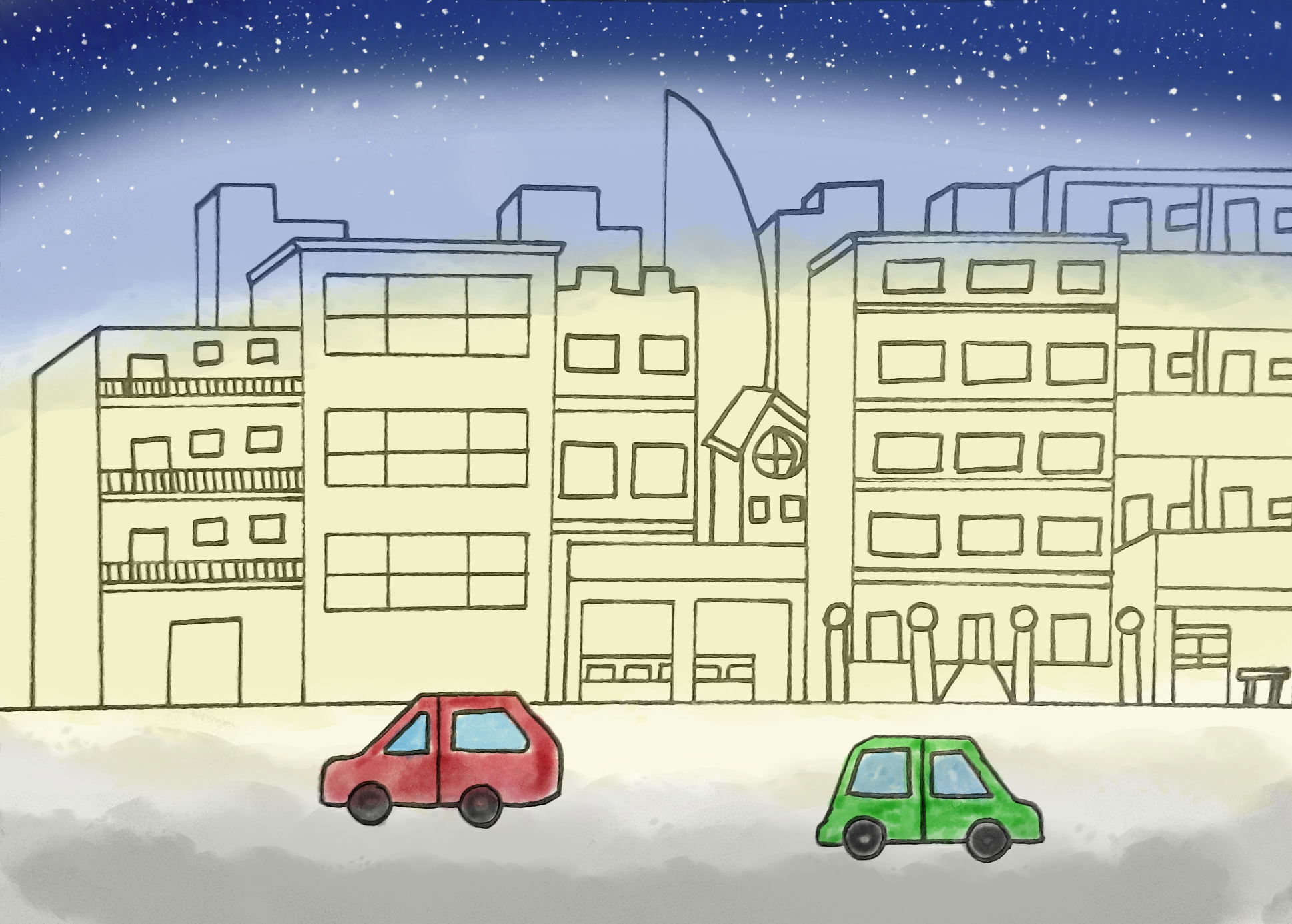Hiruk piruk kota di malam hari Illustrator: Yulia Kezia