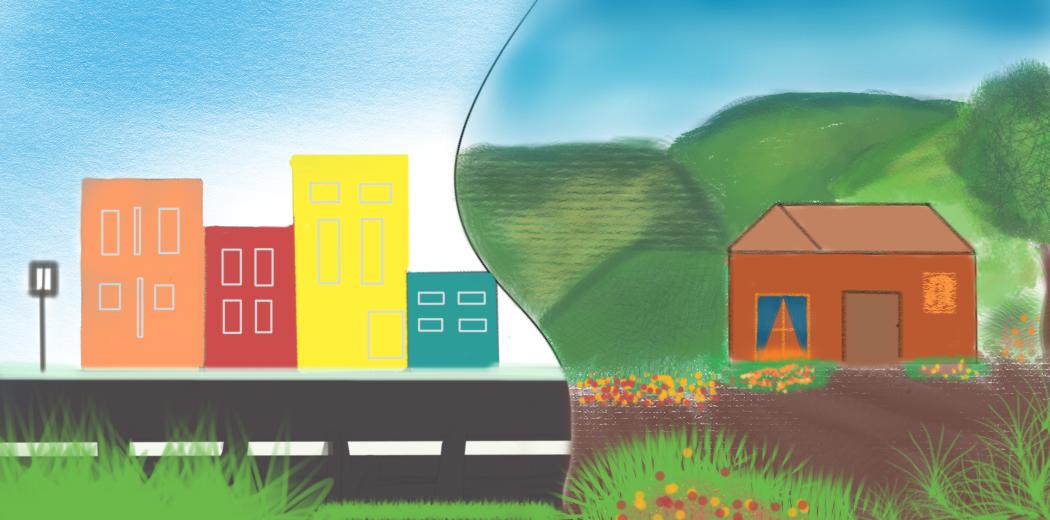 Gedung tinggi di perkotaan dan dataran tinggi di pedesaan Illustrator: Deswita Fajarani