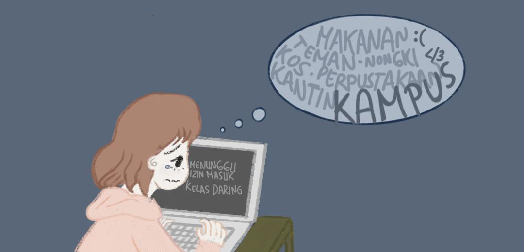 Ingin kembali kuliah luring. (Ilustrator: Cut Tasya Salsabila)